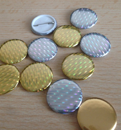Plain Metallic Diamond Effect Button Badges