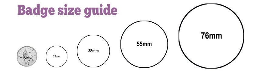 Badge size guide - 25mm, 38mm, 55mm and 55mm