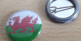 25mm Wales Flag button badges